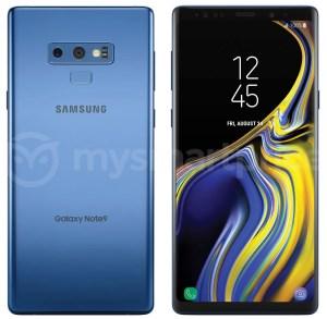 Pressbild på Samsung Galaxy Note 9 i blått