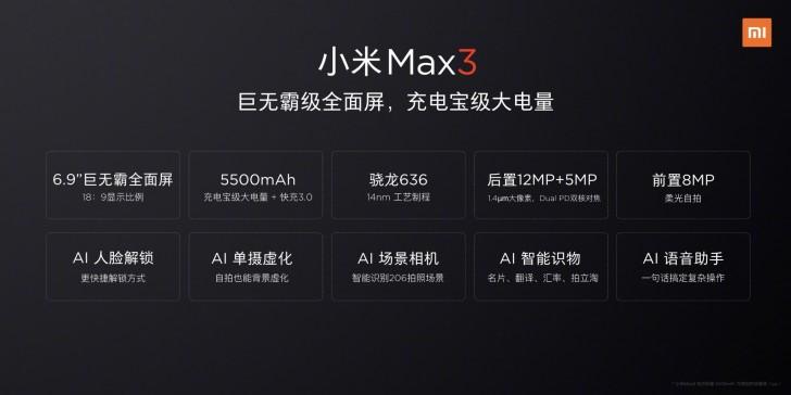 Xiaomi avslöjar specifikationer för Mi Max 3