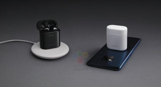 Pressbild på Huawei Mate 20 Pro tillsammans med trådlösa hörlurar