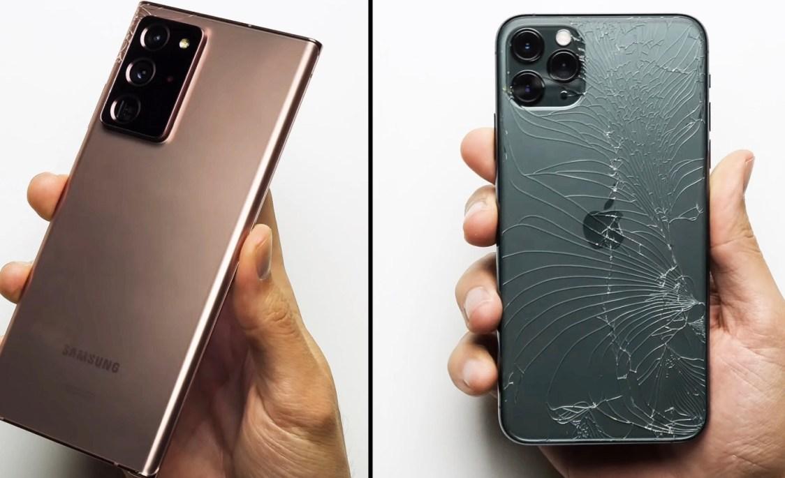 PhoneBuff visar att Samsung Galaxy Note 20 Ultra krossar iPhone 11 Pro Max i drop test