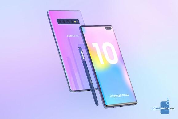 A Galaxy Note 10 a PhoneArena elképzelésében