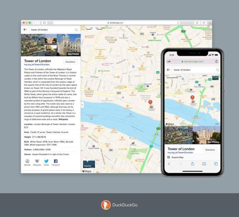 Application Duckduckgo avec un nouveau planificateur d'itinéraire