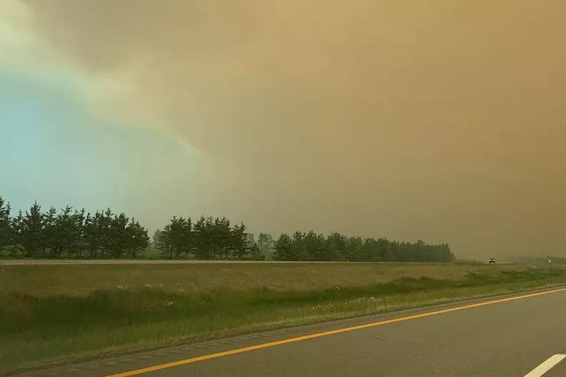 Bas-Saint-Laurent: un incendie de tourbières se dirige vers l'autoroute20