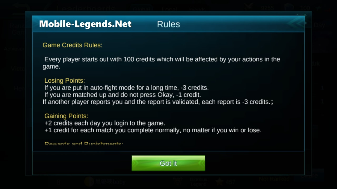 Credit Score And Rules 2018 Mobile Legends