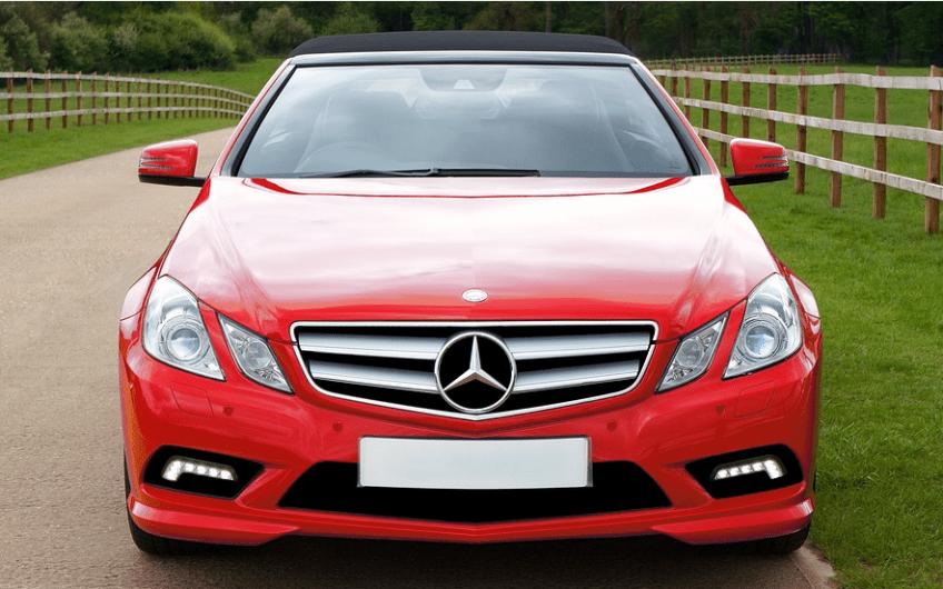 led-light on red car