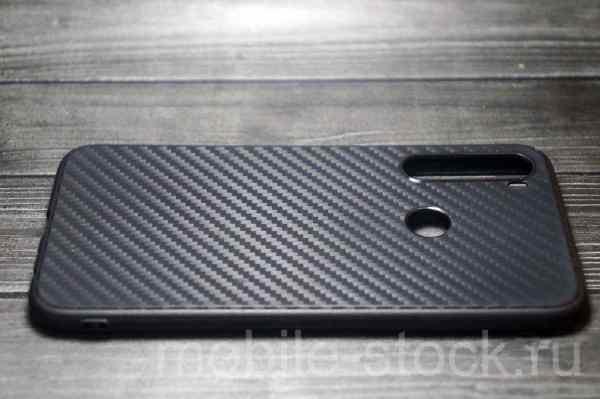 Чехол силиконовый под карбон для Xiaomi Redmi Note 8 чёрный