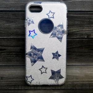 Чехол силиконовый с серебристыми звёздами для iPhone 7 | iPhone 8