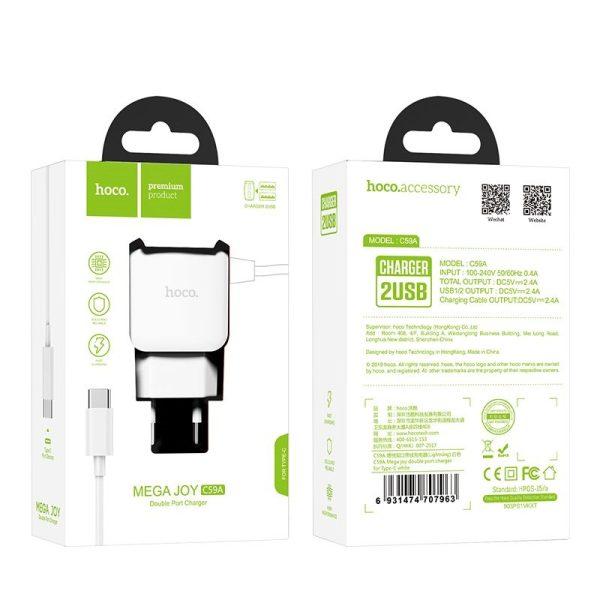 Сетевое зарядное устройство HOCO C59A Mega joy 2.4A + кабель Type-C