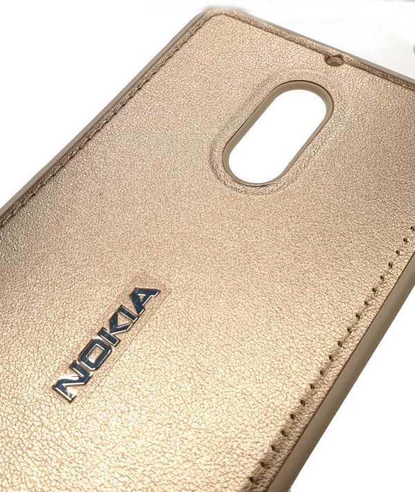"""Чехол силиконовый с накладкой """"под кожу"""" золотой для Nokia 6"""