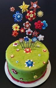Torte-Blumen-gruen