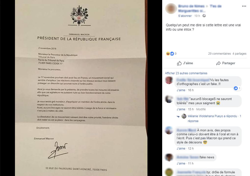 Une fausse lettre d\'Emmanuel Macron, au sujet des blocages du 17 novembre, relayée par un internaute, sur Facebook.