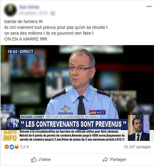 Capture d\'écran d\'un post Facebook accompagné d\'un montage photo laissant croire à des menaces de sanctions de la part du directeur de la gendarmerie nationale.