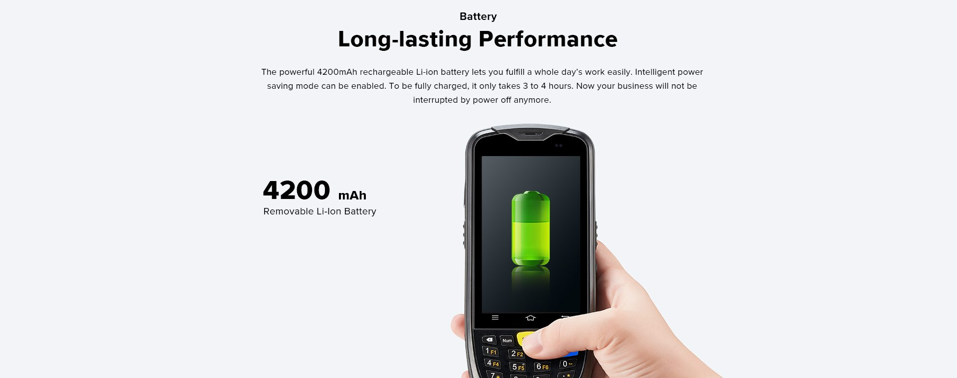 C6000 Rugged Handheld Computer Android - rechargeable Li-ion battery