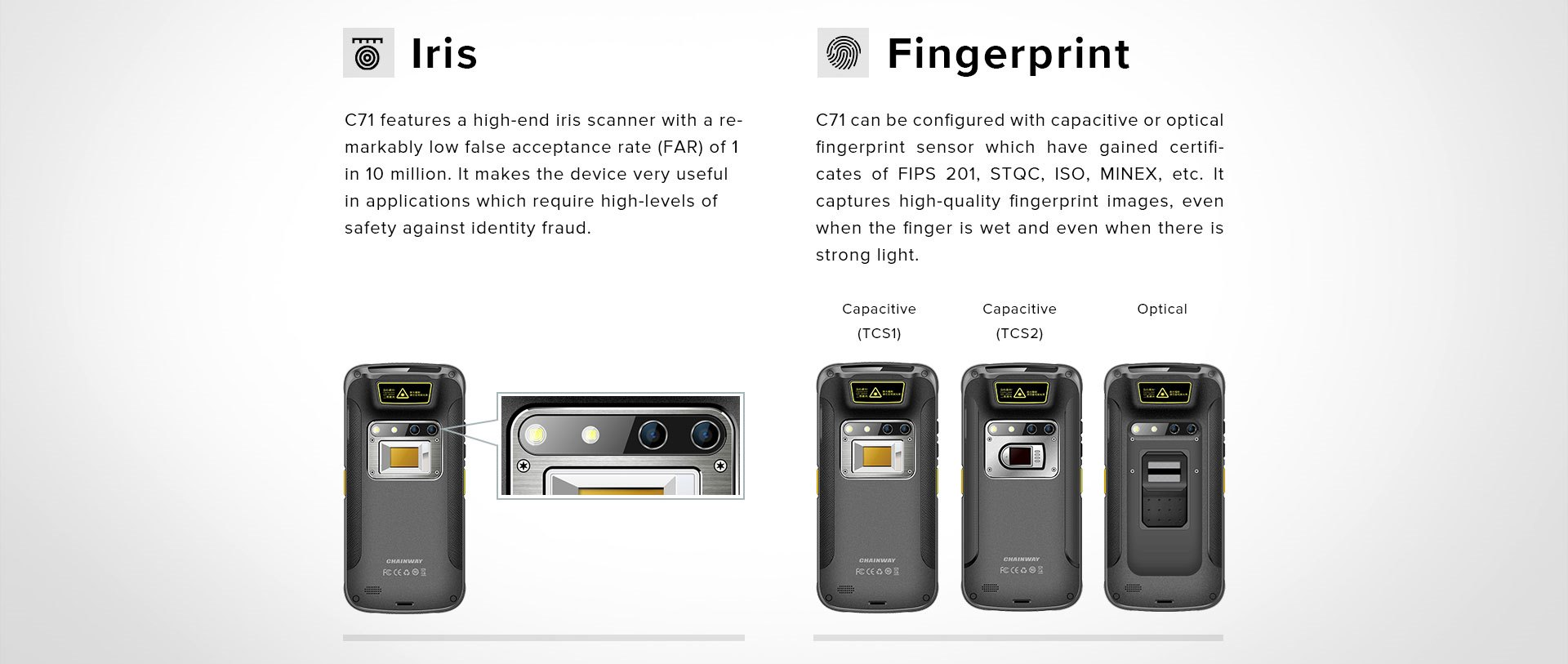 C71 - Android Industrial Mobile Computer - biometrics