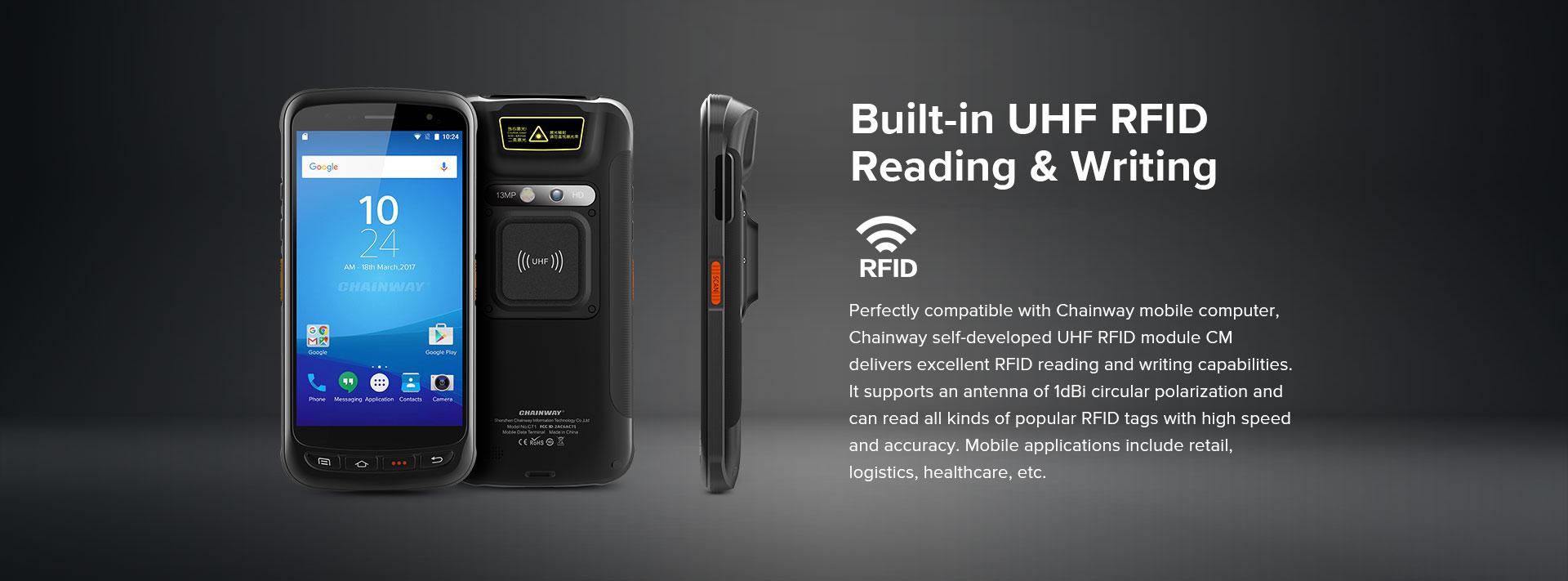 C71 - Android Industrial Mobile Computer RFID UHF antenna integrata