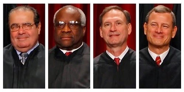 Supreme Court Justices Antonin Scalia, Clarence Thomas, Samuel Alito and Chief Justice John Roberts