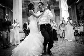 A bride and groom rock the dance floor