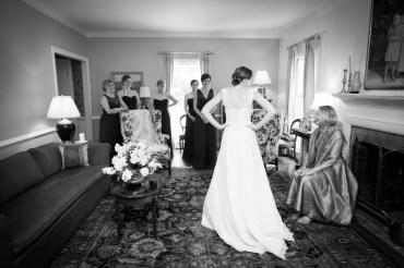 Bridesmaids get a sneak peek of the bride