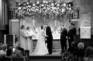 Bride and groom kiss for the first time