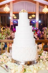 An elegant six-layer wedding cake