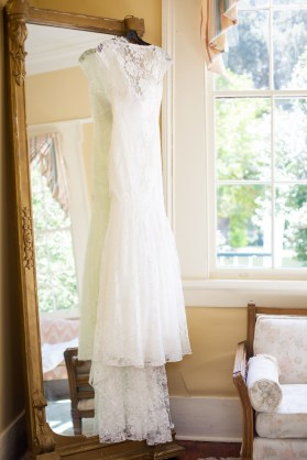 A lace wedding dress at Stewartfield in Mobile, Alabama