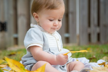 The yellow leaves of Fall are a marvel to a nine-month-old baby