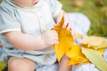 Baby boy in dapper onesie touches yellow Fall leaves