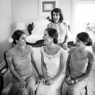 Bride and her sisters as she gets ready at Blackwater Farms in Loxley, Alabama
