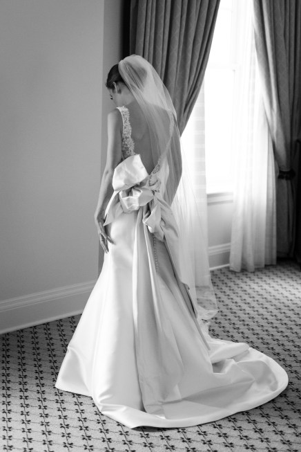 Elegant bride in hotel room