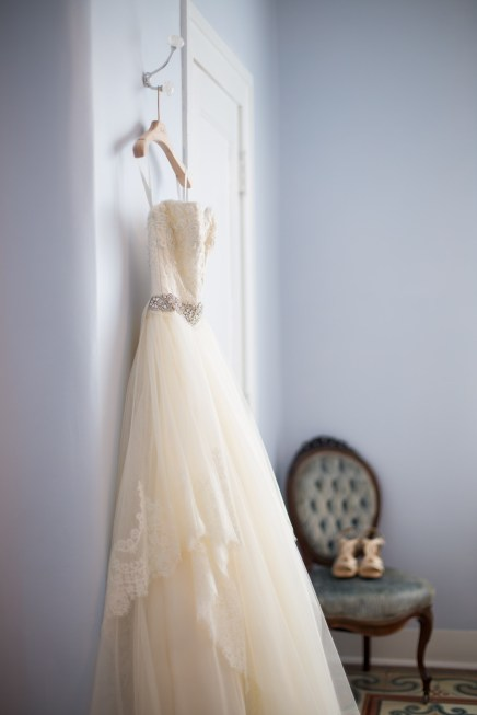 Wedding dress beautifully hung at the Pillars of Mobile, Alabama