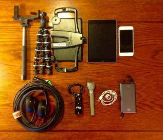 Typical gear in a mobile journalism kit.