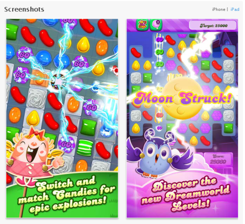 App Store Optimization: How the Top Apps Do It - Candy Crush Saga Screenshots