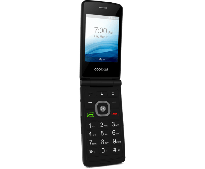 Coolpad Snap, Black, Open, Flip Phone