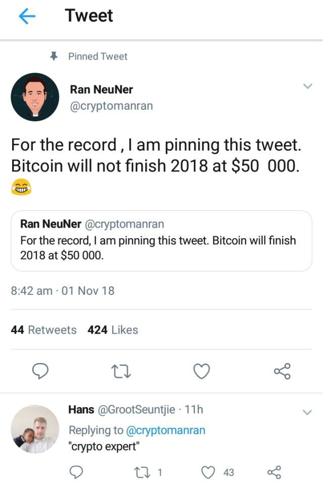 Bitcoin Will Not Reach $50K in 2018