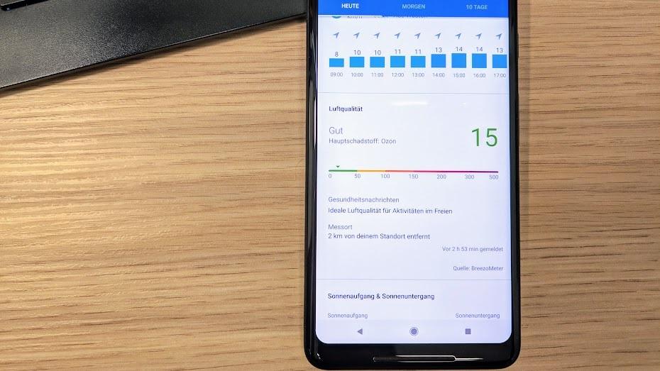 Google App zeigt jetzt auch Luftqualität an