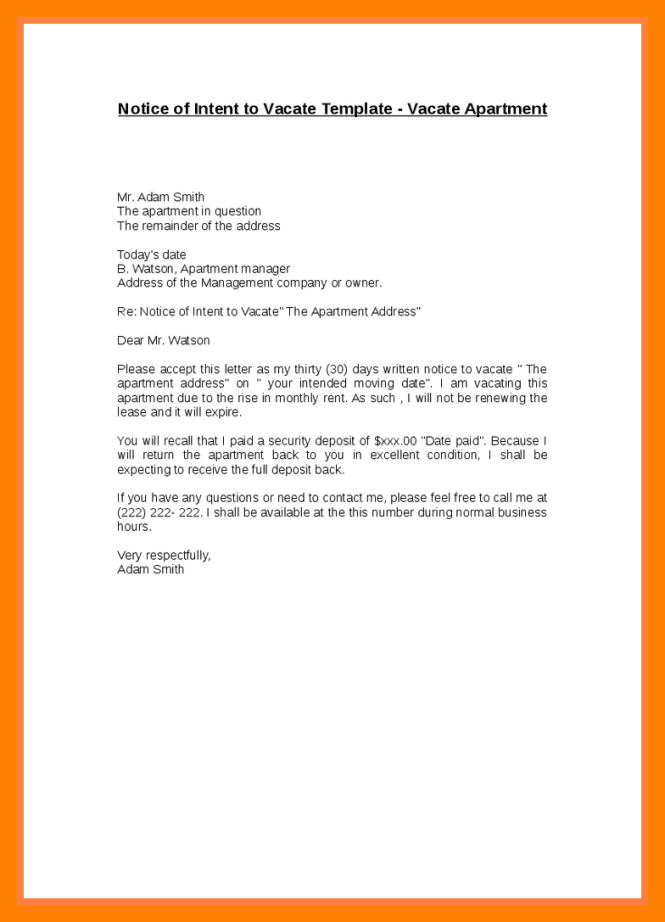 sample letter moving out apartment