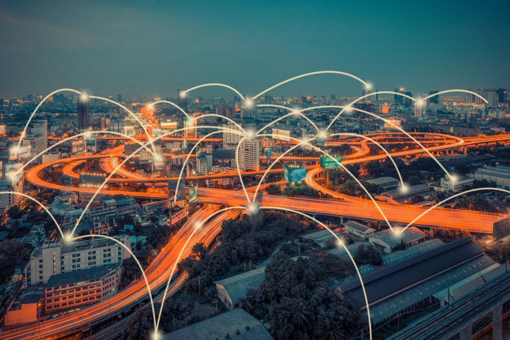 cityscape and technology and network connection concept