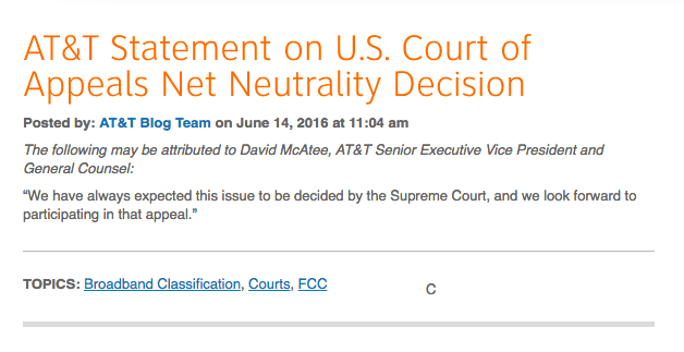 AT&T responds to ruling