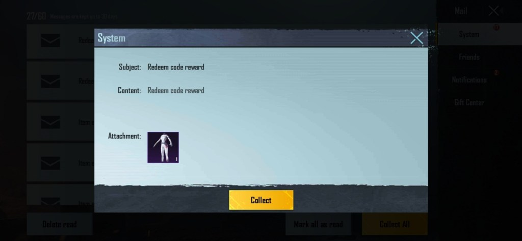 PUBG Mobile Redeem Code reward