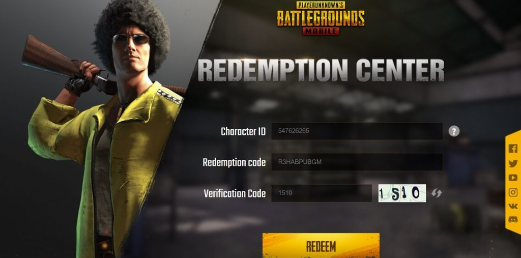 PUBG Mobile Redemption center