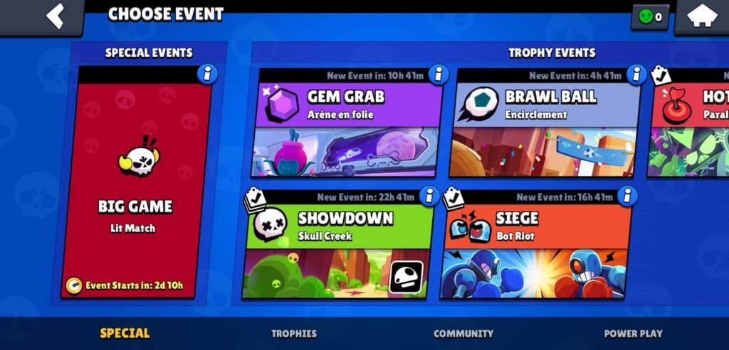 Select event for Pushing Trophies
