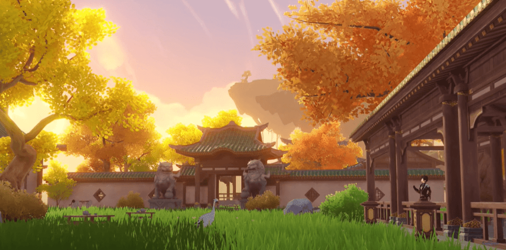 A player's house in Genshin Impact during sunset.