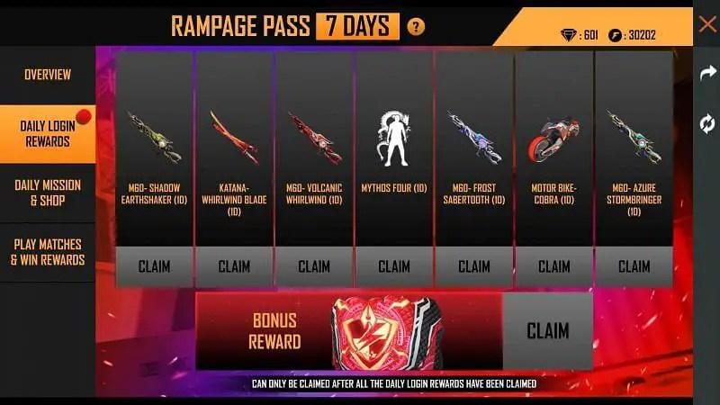 Rampage Pass  daily login