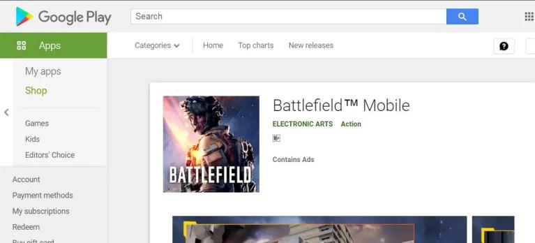 Battlefield Play store ss