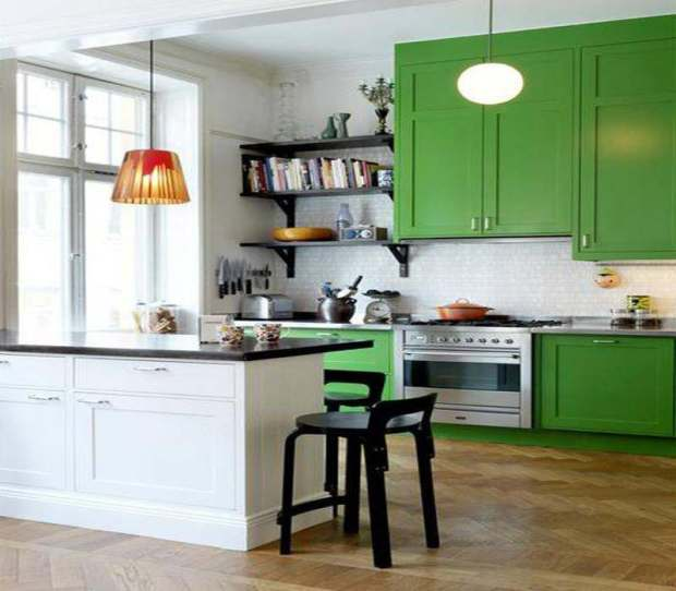 Painted Kitchen Cabinets Cabinetry Color Colorful Green Apple Wood Floor Open Shelving Black Range White Pendant Light Shaker Beadboard