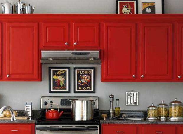 Painted Kitchen Cabinets Red Color Colorful Grey Counter Countertop Cabinetry Traditional Raised Panel