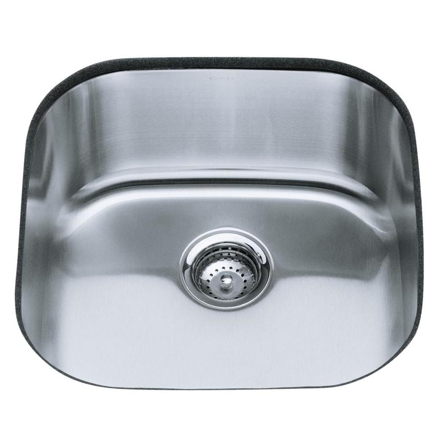 kohler undertone undermount 17 625 in x 19 625 in stainless steel single bowl kitchen sink in the kitchen sinks department at lowes com