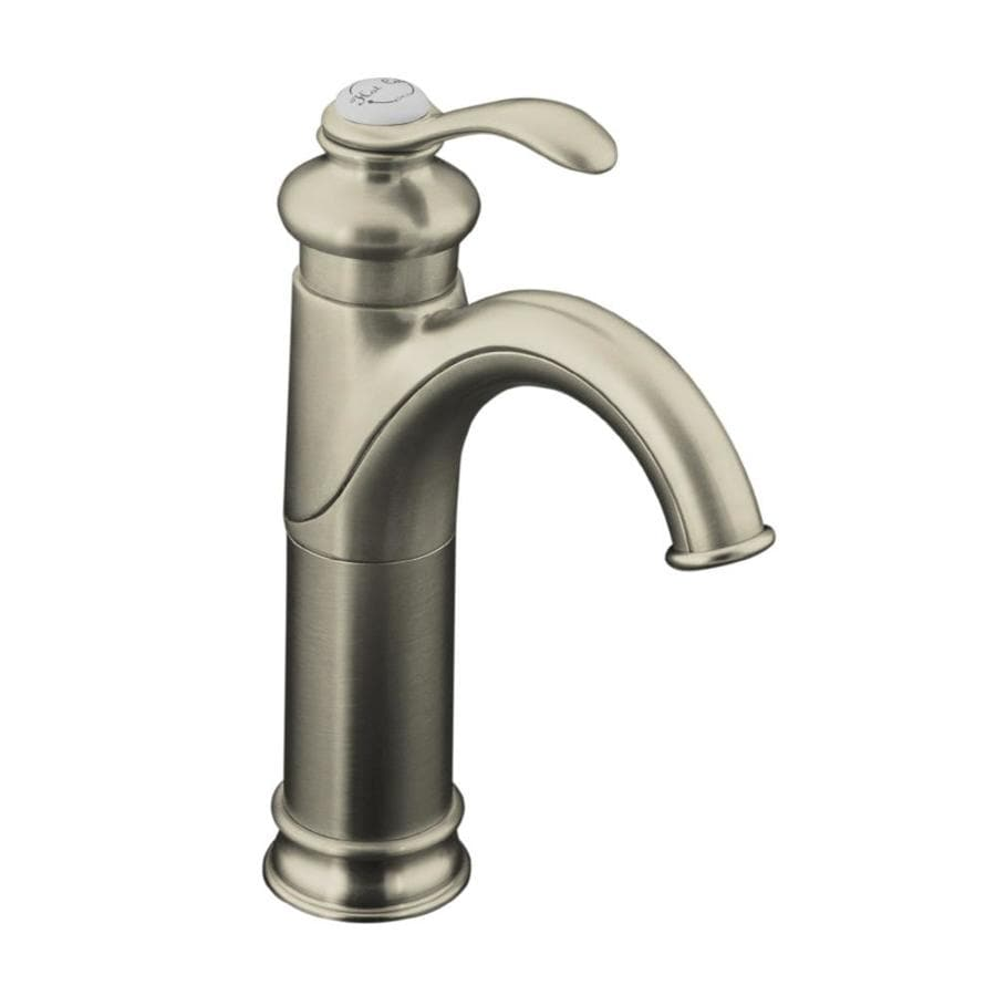 kohler fairfax vibrant brushed nickel 1 handle single hole watersense bathroom sink faucet with drain in the bathroom sink faucets department at lowes com