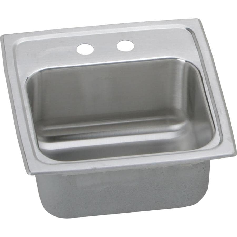 elkay gourmet 15 in l x 15 in w lustrous highlighted satin 2 hole stainless steel drop in residential bar sink in the bar prep sinks department at lowes com