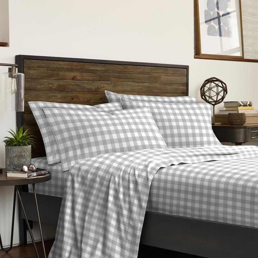 westpoint home izod buffalo check sheet king microfiber bed sheet in the bed sheets department at lowes com